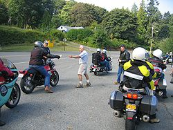 Riders at a checkpoint in the 2009 Isle of Vashon TT poker run. 2009 Isle of Vashon TT poker run checkpoint.jpg