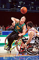 201000 - Wheelchair basketball Troy Sachs passes - 3b - 2000 Sydney match photo.jpg