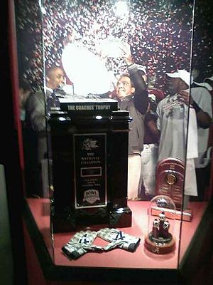AFCA National Championship Trophy - Alabama's 2009 Championship Trophy on display at the Paul W. Bryant Museum