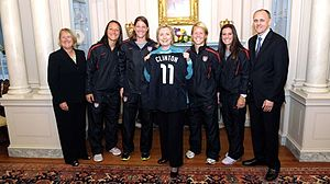 Lori Lindsey - 2011 United States women's national soccer team players, Jillian Loyden, Nicole Barnhart, Lori Lindsey, and Ali Krieger, with United States Secretary of State Hillary Clinton