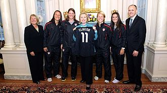 Jillian Loyden - 2011 United States women's national soccer team players, Jillian Loyden, Nicole Barnhart, Lori Lindsey, and Ali Krieger, with United States Secretary of State, Hillary Clinton.