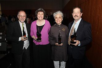 P.T. Barnum Awards - From the 2012 P.T. Barnum Awards: From left, author Gregory Maguire (G90), NBC News Producer Marian Porges (J82), dancer and artistic director Betsy Gregory (J73), and actor Jonathan Hadary.