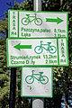2012 Powiat pszczyński, Wisła Wielka, Ulica Leśna, Tablice trasy rowerowej R-4.jpg