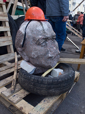 Decommunization in Ukraine - Destructed statue of Lenin in Zhytomyr on 21 February 2014 during the Euromaidan protests
