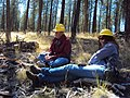 2014. Forest entomologists Andy Eglitis with the Central Oregon Service Center (left) and Beth Willhite with the Westside Service Center. Western bark beetle field meeting. Blue Mountains, Oregon. (25271328338).jpg