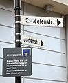 2015-11-14 Freundeskreis Hannover in Hildesheim, (180) Straßenschild Scheelenstraße, Judenstraße, Pferdemarkt-Infotafel.jpg