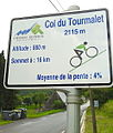 2015 Mountain pass cycling milestone at the Col du Tourmalet in France ascending from Sainte Marie de Campan.jpg