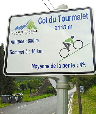 Col du Tourmalet - One of the mountain pass cycling milestones along the ascent from Sainte-Marie-de-Campan