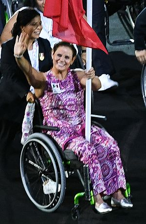 Nely Miranda - Miranda as the Mexican flag bearer at the 2016 Summer Paralympics Parade of Nations
