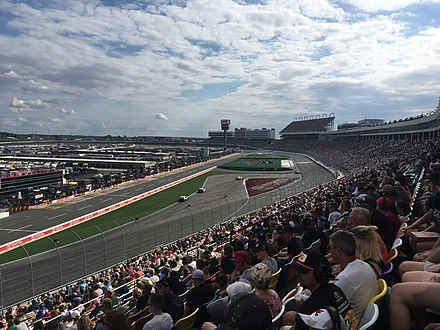 The 2018 Bank of America Roval 400 at Charlotte Motor Speedway, the first race held on the road course configuration 2018 Bank of America Roval 400 from frontstretch.jpeg