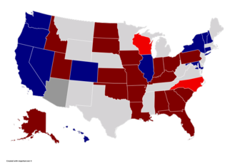 Color coded map of 2020 Senate races