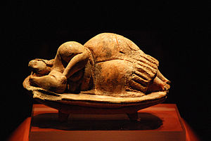 National Museum of Archaeology, Malta - The original Sleeping Lady artifact, discovered at the Ħal Saflieni Hypogeum, is an honorary possession of the museum