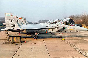 32d Air Operations Squadron - F-15 Eagles on the flight line at Soesterberg, about 1985