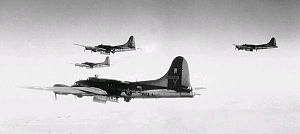 RAF Nuthampstead - B-17Gs of the 398th Bomb Group over a target.