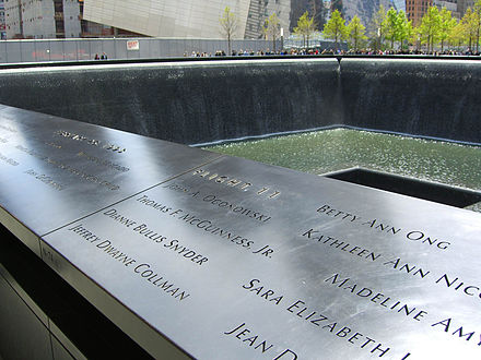 The names of Flight 11's crew are located on Panel N-74 of the National September 11 Memorial's North Pool. The passenger names are inscribed on that panel and four other adjacent ones. 4.28.12Flight11PanelN-74ByLuigiNovi2.jpg