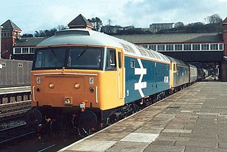 British Rail Class 47 - Two Class 47s, Nos. 47424 and 47607, at Bangor station with a passenger train in 1987