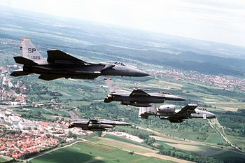 U.S. Air Force fighters from the four squadron...