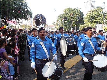 The bands of the Royal Malaysian Navy during the 2012 Hari Merdeka parade, in Kuala Lumpur. 55th Merdeka Day Picture 08.jpg
