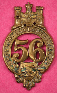 56th (West Essex) Regiment of Foot raised in 1755 as the 58th and renumbered as the 56th in 1756