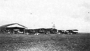 Rembercourt Aerodrome - 94th Aero Squadron - Flightline at Rembercourt Aerodrome, France, late October 1918. Note the wind-direction flag on the headquarters building. It was captured from the German Stenay Airdrome