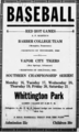 A. P. Martin's Barber College Team vs Vapor City Tigers, Baseball Ad.png
