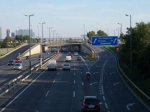 Autobahns of Austria - A22 Donauuferautobahn, near the exit Floridsdorfer Brücke