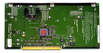 Apple Network Server - The CPU board of an ANS 700/200. The ANS 500/132 and 700/150 CPUs are made from the same board but each employs unique configuration jumpers. All ANS CPUs have an applied printed label (shown on the extreme left) which identifies the CPU's speed: 132, 150 or 200 MHz. As in this generation of Apple's PowerPC products, the installed processor card determines the system's CPU speed, and the system's bus speed is derived from the CPU's speed: 44 MHz for /132, and 50 MHz for /150 and /200.