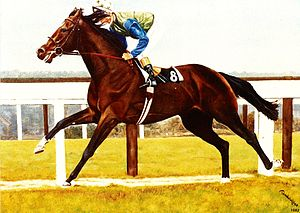 Irish Derby - Assert, oil on canvas  Painting by Bob Demuyser (1920-2003)