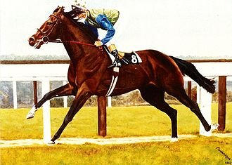 Prix du Jockey Club - Assert, oil on canvas  Painting by Bob Demuyser (1920-2003)