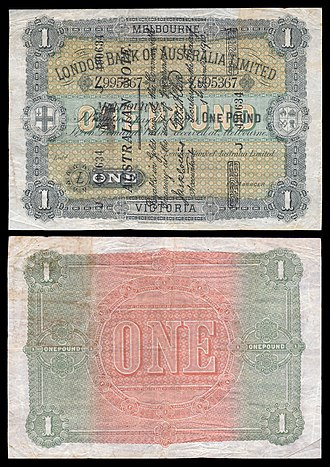 Banknotes of the Australian pound - Image: AUS S45 London Bank of Australia Limited One Pound (1910 14, superscribed)