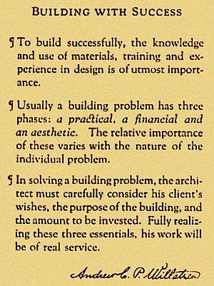 Andrew Willatsen - Andrew Willatzen's Professional Creed, 1910s