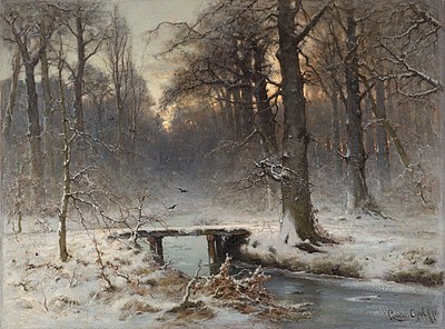 A January evening in the Haagse Bos, by Louis Apol (1850–1936).jpg