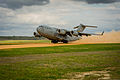 A U.S. Air Force C-17 Globemaster III aircraft takes off from the Geronimo landing zone during Joint Readiness Training Center (JRTC) 14-05 training at Fort Polk, La., March 14, 2014 140314-F-XL333-270.jpg