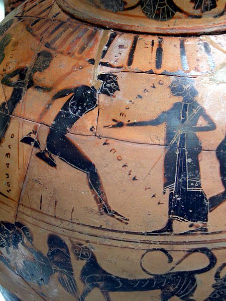 File:A competitor in the long jump, Black-figured Tyrrhenian amphora showing athletes and a combat scene, Greek, but made for the Etruscan market, 540 BC, found near Rome, Winning at the ancient Games, British Museum (7675649600).jpg