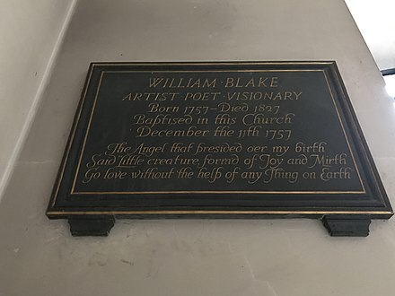 A memorial to William Blake in St James's Church, Piccadilly A memorial to William Blake in St James's Church, Piccadilly.jpg