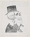 A profile of a skeleton with a tophat, a coat, and glasses, from a broaside entitled 'La Calavera de Cupido', published by Antonio Vanegas Arroyo. MET DP869220-1.jpg