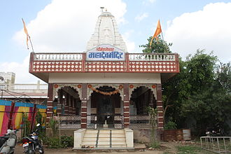 Manasa, Madhya Pradesh - A street view image showing the front building of Shiv Mandir which is in Dwarikapuri