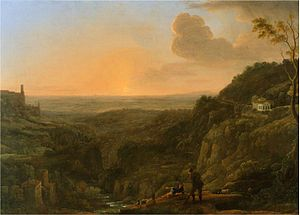 Staffage - A view of the Roman Campagna from Tivoli, evening (1644-5), with two shepherds as staffage, by Claude Lorrain.