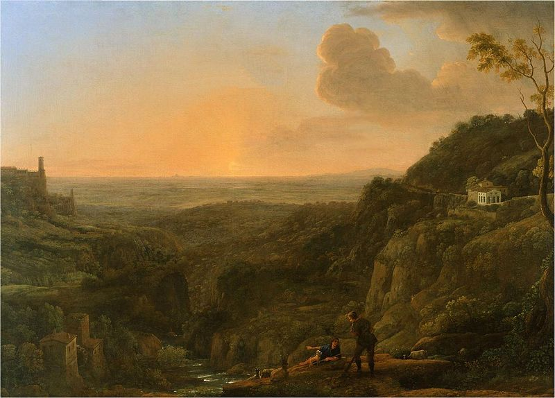 File:A view of the Roman Campagna from Tivoli, evening (1644-5); Claude Gellee, called Le Lorrain.jpg