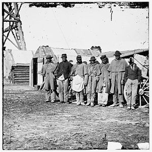 Bermuda Hundred, Virginia - African americans, freed from plantation slave holders, worked as teamsters at Bermuda Hundred to help the U.S. forces that freed them from the rebels of the civil war.