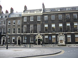 Architecture of London - The world-famous Architectural Association at 33-39 Bedford Square exhibits all the most diagnostic features of London Georgian architecture