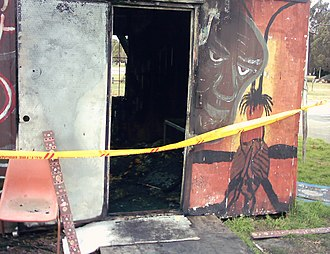 Aboriginal Tent Embassy - The embassy was partially destroyed in an arson attack