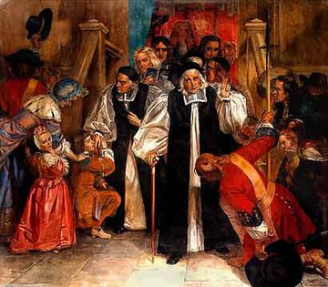 The Seven Bishops acquitted, June 1688; a key factor in the removal of James, five later became Non-Jurors AcquittalSevenBishops.jpg