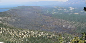Angora Fire - View of Angora Fire area from Flagpole Peak. Flagpole Peak is a mountain next to Echo Lake.