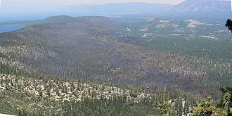 Angora Fire - View of Angora Fire area from Flagpole Peak. Flagpole Peak is a mountain next to Echo Lake.