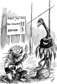 A cartoon depicting a moa proudly standing over an injured lion.