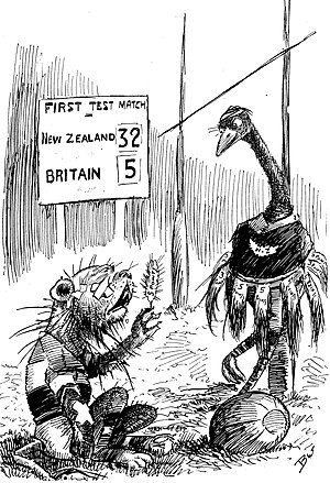 """1908 British Lions tour to New Zealand and Australia - Cartoon by William Blomfield, published by the New Zealand Observer following the tour's first test match. It depicts the touring Anglo-Welsh as a """"dilapidated lion"""" following their 32–5 defeat to New Zealand."""