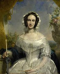 Agatha Petronella Hartsen (1814-78). In bruidstoilet ter gelegenheid van haar huwelijk met Jan van der Hoop op 17 maart 1841