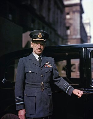 Charles Portal, 1st Viscount Portal of Hungerford - Air Chief Marshal Portal standing by a staff car outside Air Ministry buildings in London, during the Second World War