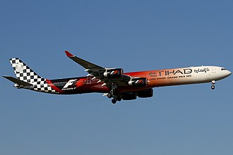 Etihad Airways - A now retired Etihad Airways Airbus A340-600 in the Abu Dhabi Grand Prix livery